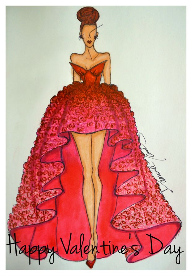 Daniela Tabois Valentine's Day Dress Sketch