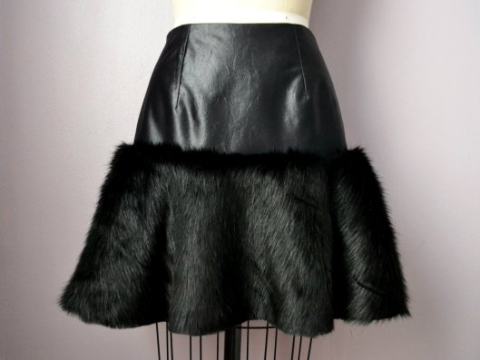 Daniela Tabois Black Leather Fur Skirt