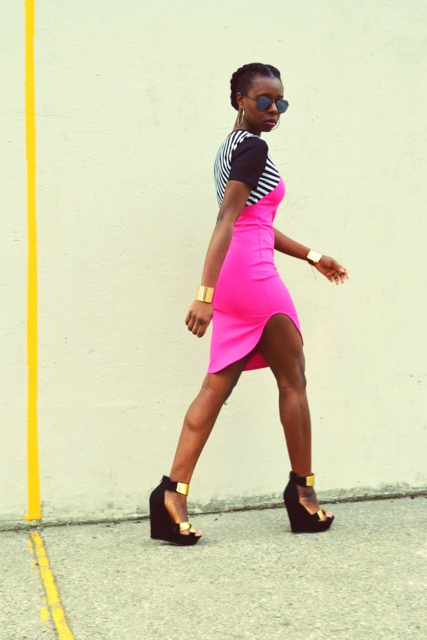 Daniela Tabois Hot Pink Stripe Bodycon dress10