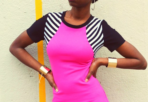 Daniela Tabois Hot Pink Stripe Bodycon dress6