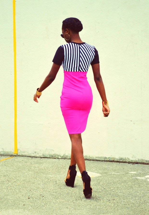 Daniela Tabois Hot Pink Stripe Bodycon dress9