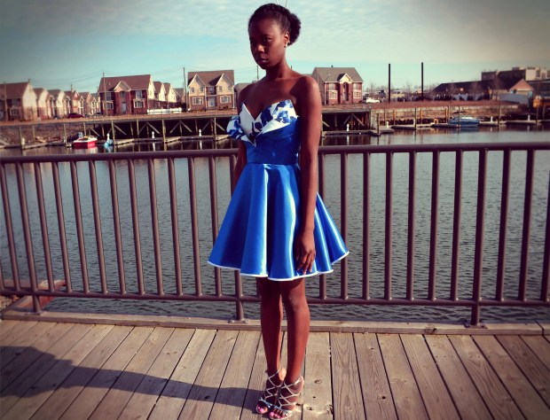 Daniela Tabois Metallic Petal Bodice Dress 1