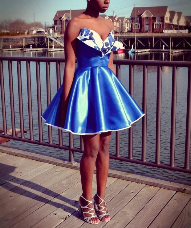 Daniela Tabois Metallic Petal Bodice Dress2