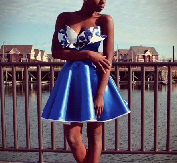 Daniela Tabois Metallic Petal Bodice Dress3