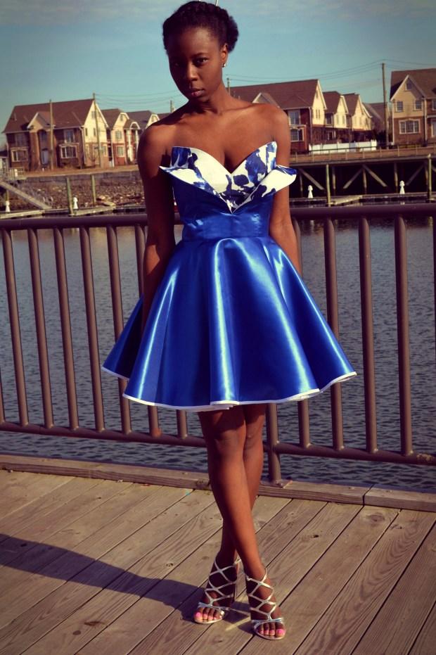 Daniela Tabois Metallic Petal Bodice Dress5