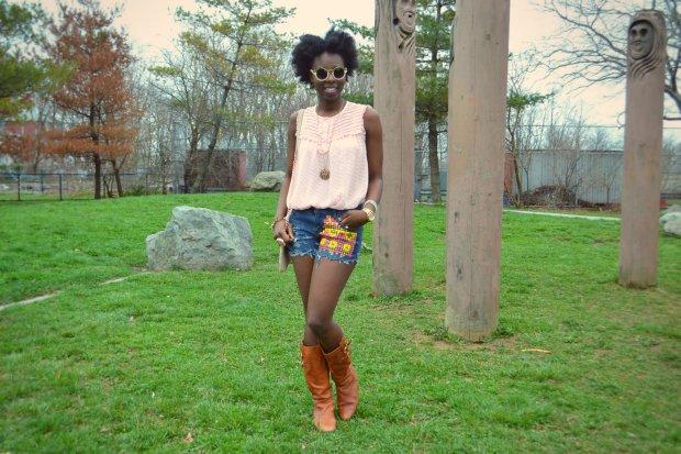 Daniela Tabois DIY Aztec Studded Short1
