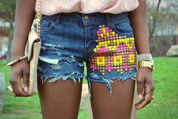 Daniela Tabois DIY Aztec Studded Short5