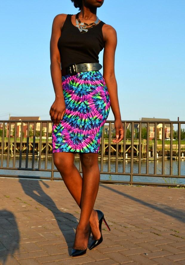 Daniela Tabois High Waist Tie Dye Body Conscious Skirt5