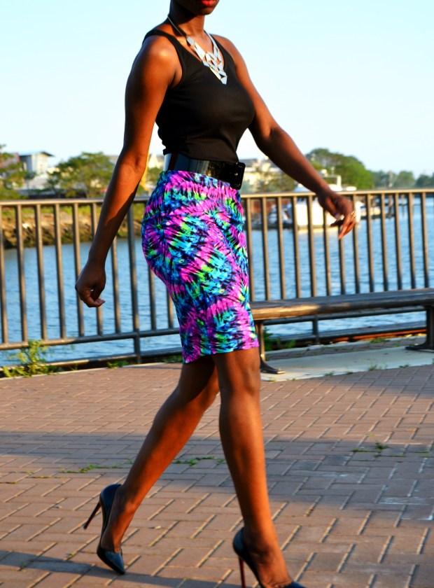 Daniela Tabois High Waist Tie Dye Body Conscious Skirt6