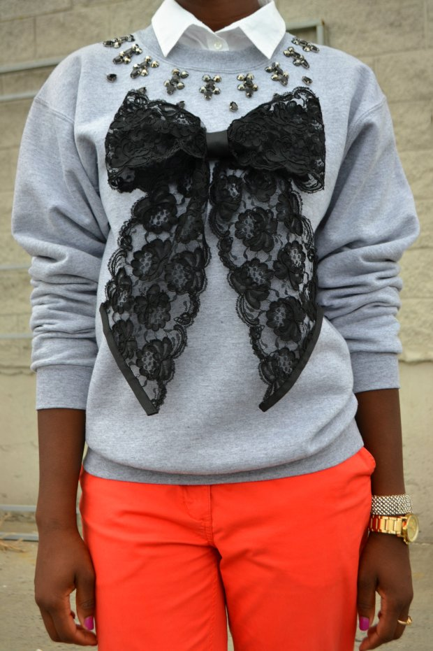 Daniela Tabois DIY Embellish Lace Bow Sweatshirt 4