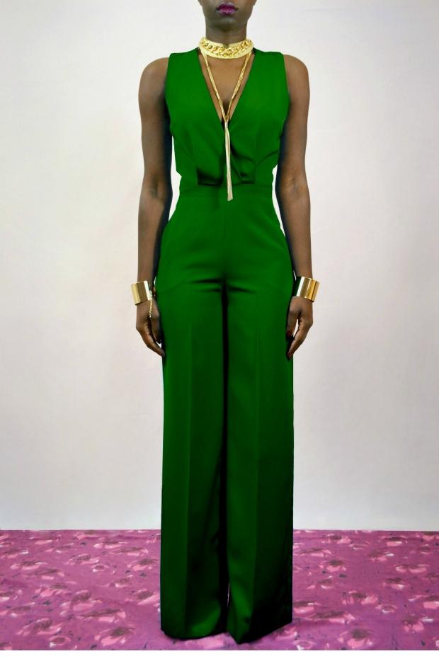 Daniela Tabois Cross back Wide leg Jumpsuit dark green 1