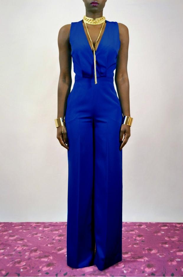 Daniela Tabois Cross back Wide leg Jumpsuit royal blue 1