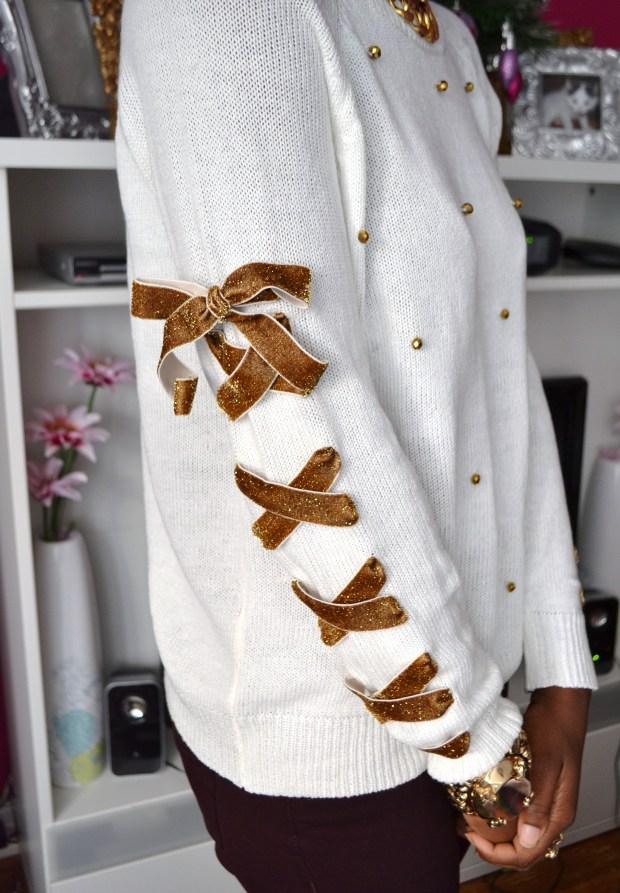 Daniela Tabois DIY Lace up ribbon Embellish sweater3