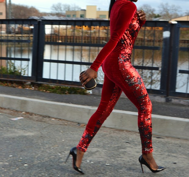 Daniela Tabois Sequin velvet catsuit10