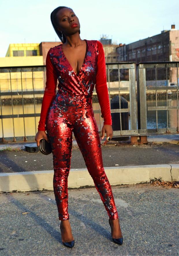 Daniela Tabois Sequin velvet catsuit2