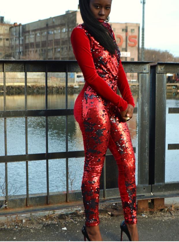 Daniela Tabois Sequin velvet catsuit4