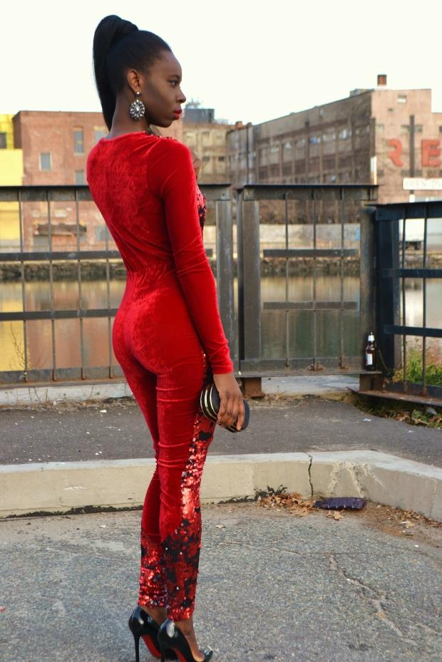Daniela Tabois Sequin velvet catsuit5