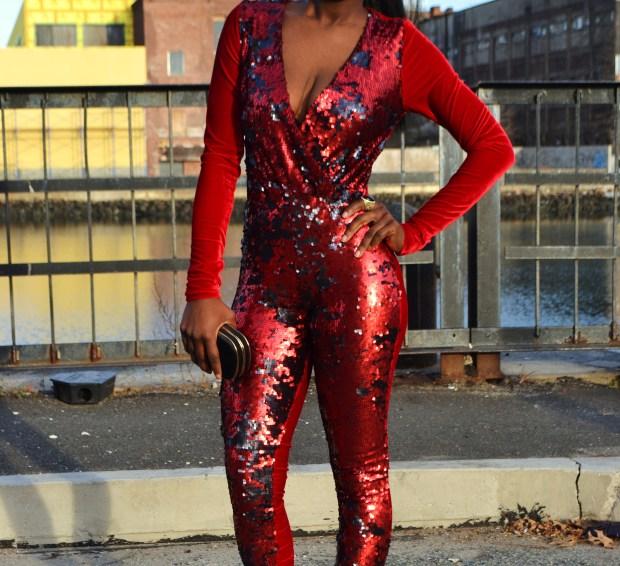 Daniela Tabois Sequin velvet catsuit7
