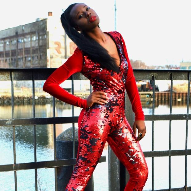 Daniela Tabois Sequin velvet catsuit8