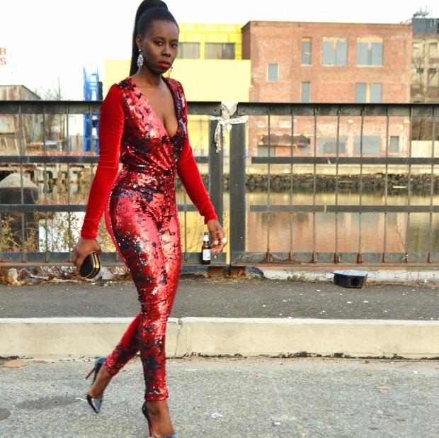 Daniela Tabois Sequin velvet catsuit9