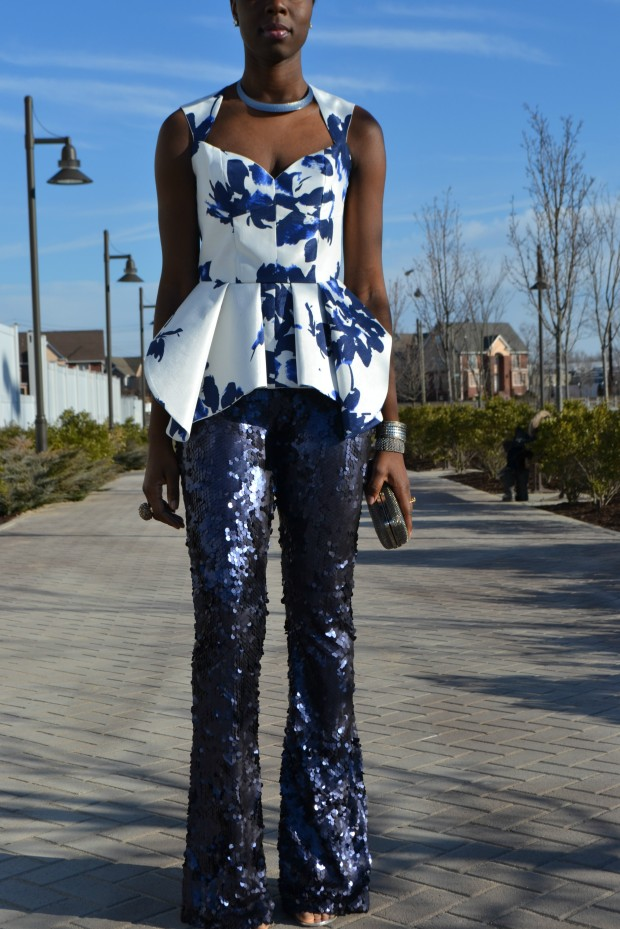 Daniela Tabois Navy Sequin Pants Style 1