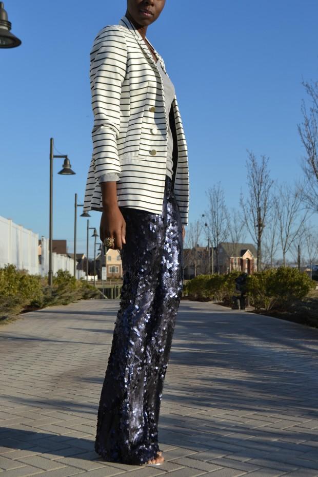 Daniela Tabois Navy Sequin Pants Style 10