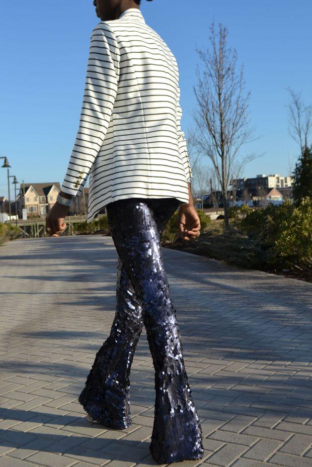 Daniela Tabois Navy Sequin Pants Style 13