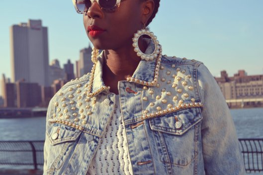 DanielaTabois DIY Pearl Studded Chain Denim Jacket