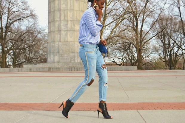 DanielaTabois DIY Pearl Chain Rip Boyfriend Jeans5