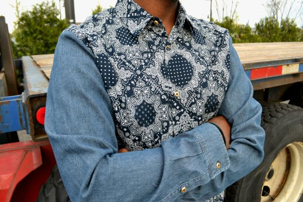 DIY Men's Mix Print Denim Shirt 8