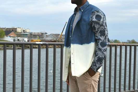 DIY Men's Mix Print Denim Bleach Shirt