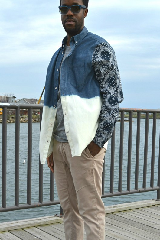 DIY Men's Mix Print Denim Bleach Shirt7