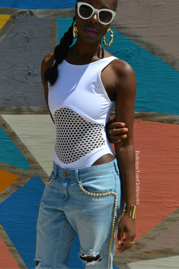 Redesign Your Clothes DIY Mesh Bathing Suit 2