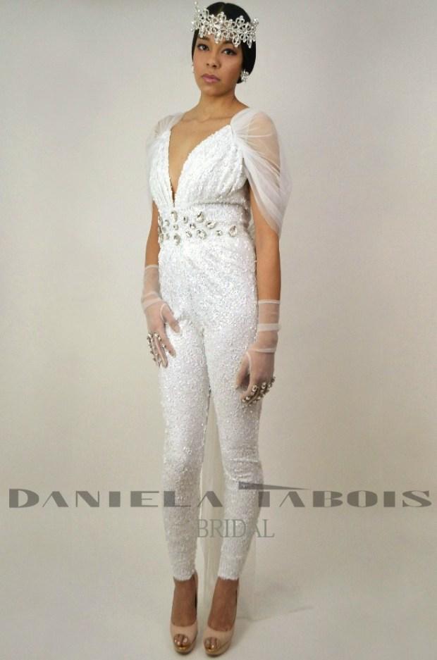 Daniela Tabois sequin bridal catsuit front